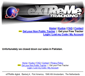 Extreme Tracking: Unfortunately we closed down our sales in Pakistan