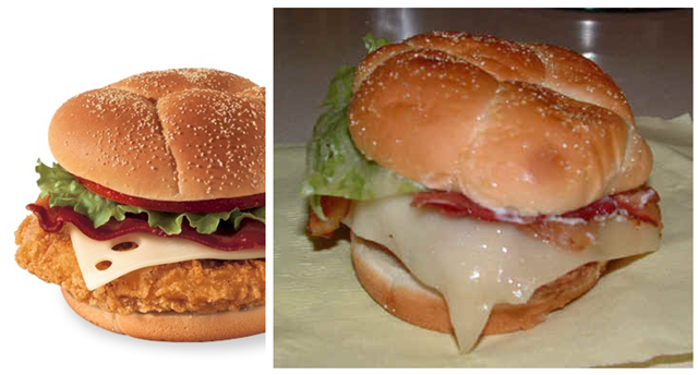 Wendy's Chicken club - Fast food: ads vs reality