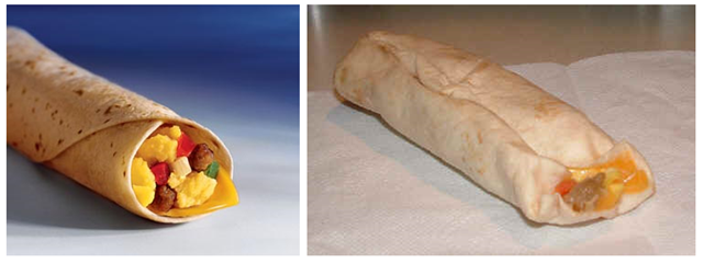 McDonald's Sausage Breakfast Burrito - Fast food: ads vs reality