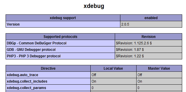 Xdebug info with phpinfo()