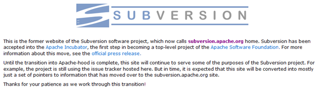 Subversion message on old homepage before moving to Apache