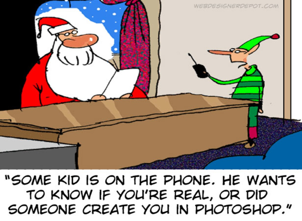 Funny Christmas picture - Santa Claus and the Elf