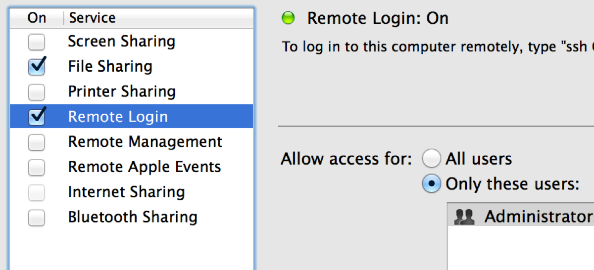 OS X - Sharing - Remote Login